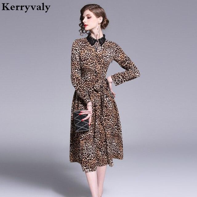 f9c5221fcc2bc2 Spring Women Lapel Lace Strap Leopard Dress Vetement Femme 2019 Long  Sleeves Midi Party Dress Zomer Jurk Dames Jurken K3903