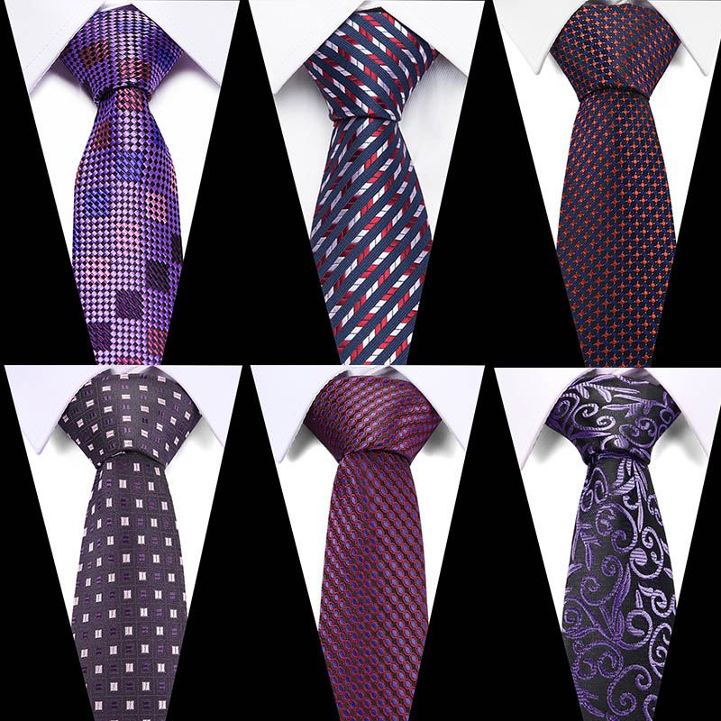 High Quality Purple Paisley&Plaid Tie 100% Silk Tie For Man Bussiness Wedding Party