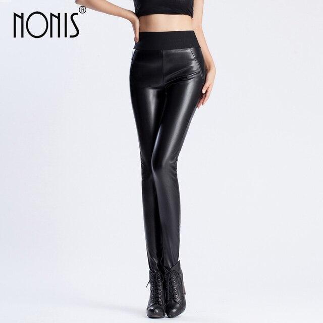 97673c617bca7a Nonis Women Autum Winter Warm Leather Trousers High Waist Ladies Femme  Pencil Stretch Pants PU Skinny Long Pant velvet no velvet