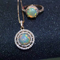 De lujo sistema de la joyería 925 collar de plata de ley maciza natural opal colgante anillo de sistemas de la joyería de moda mujer joyería de plata