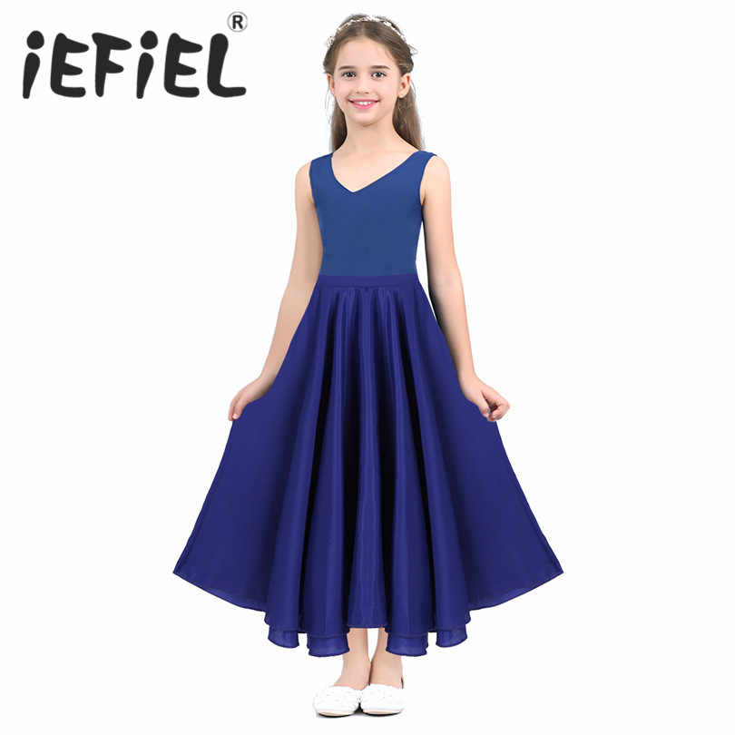 342861ef7d7e3 iEFiEL Girls Tutu Skirts Maxi Full Circle Skirt for Performance Celebration  of Spirit Praise Dance Wear Party Dancing Clothes