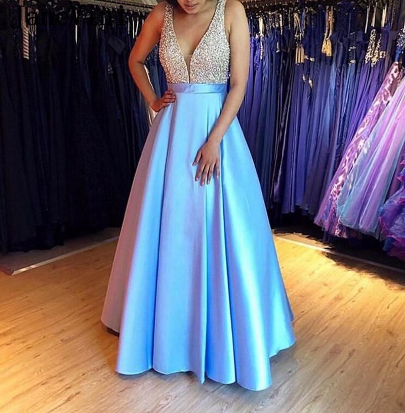 JaneVini Light Sky Blue Satin Long   Prom     Dresses   Beded Sexy V Neck Floor Length Formal Women Evening Party Wear Vestidos De Gala