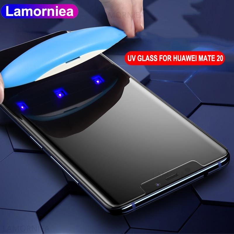 La luz UV completa pegamento Protector de pantalla para Huawei Mate 20 Lite 5D 6D 9D líquido de vidrio templado para Huawei Mate 20 Pro amigo 20 RS X