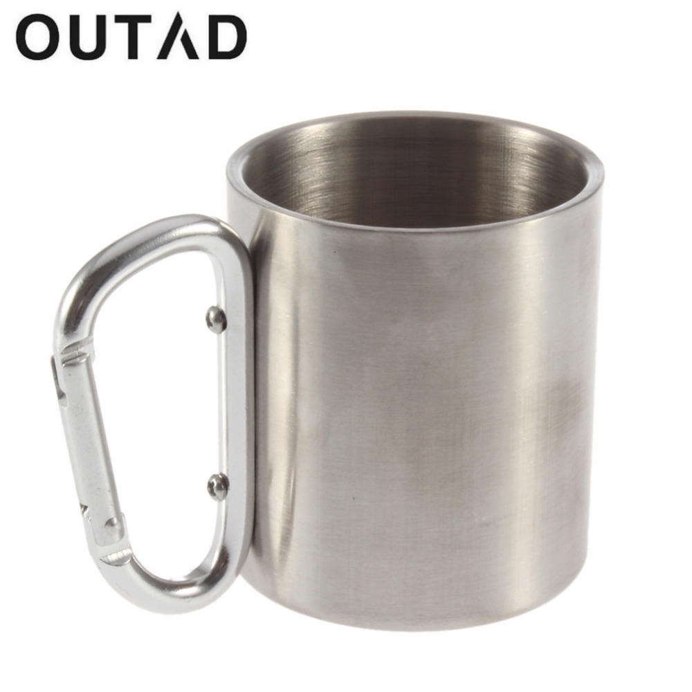 OUTAD 1PC Steel Camping Cup Piala Kopi Teh Bear Cups Mug 180ml Perjalanan Carabiner Aluminium Hook Double Wall Stainless DropShipping