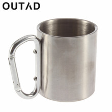 OUTAD 1PC Steel Camping Cup Coffee Tea Bear Cups Mug 180ml Traveling Carabiner Aluminium Hook Double Wall Stainless DropShipping