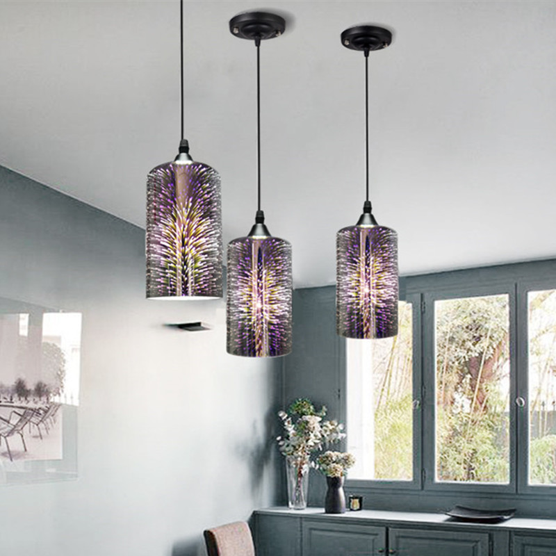 Simple Gl Lamp Fireworks Led Pendant Light Colorful Plated Modern Vintage Indoor Lighting Hanging Fixture In Lights From