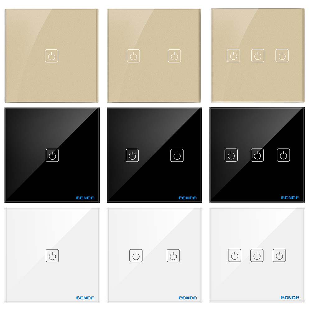 все цены на BONDA EU/UK Standard AC110V~240V Single FireWire Hotel Switch Wall Light Switch Crystal Glass Panel Household Touch Wall Switch онлайн