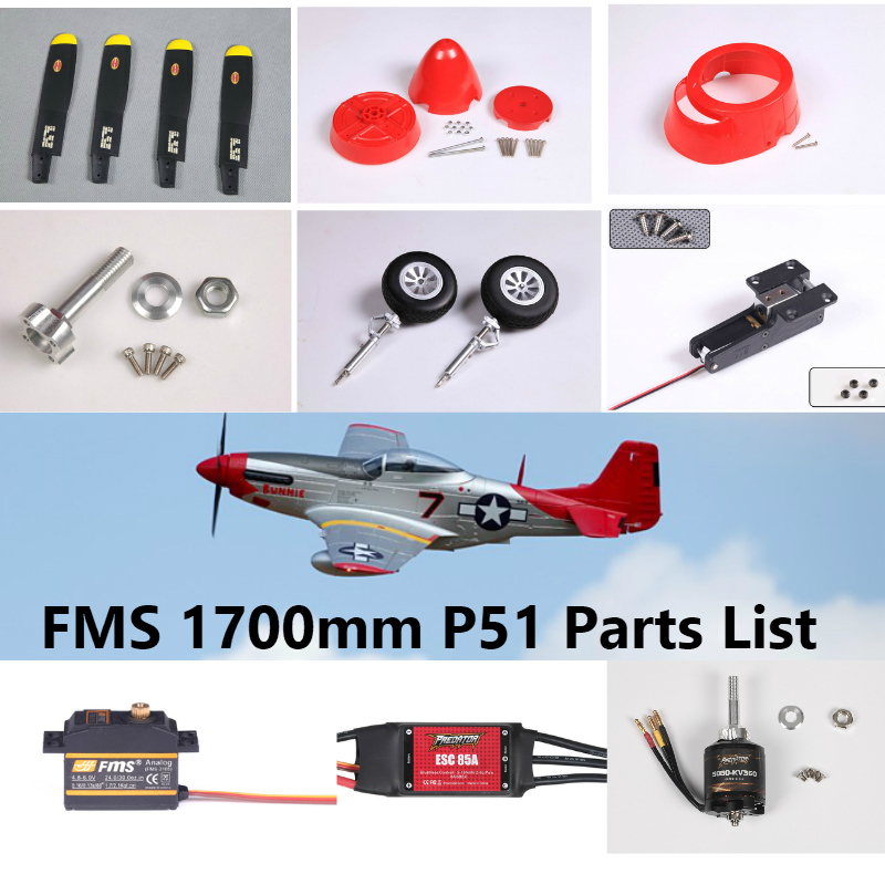 US $1 8 5% OFF|FMS 1700mm 1 7m P51 P 51D Parts Propeller Spinner Motor  Shaft Board Mount Landing Gear Retract etc RC Airplane Plane Aircraft-in  Parts
