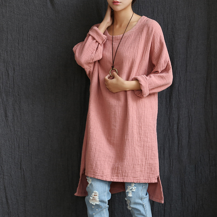 Women Autumn Spring Solid color Loose Long sleeve Irregular Dresses Female Cotton Linen Bottoming O-neck Knee - Werainyee Store store