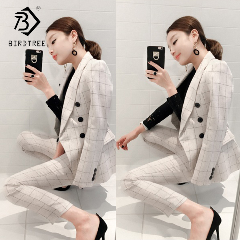 Women's Office Lady Two Pieces Plaid Elegant Double Breasted Turn-down Collar Blazers Full Length Trousers 2018 New Suit S88708Y