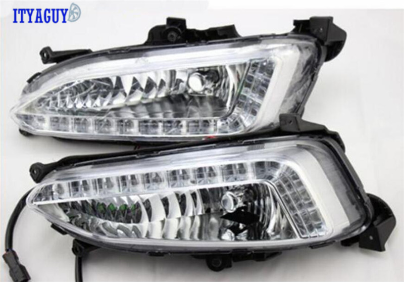 High quality Daytime Running Lights For Hyundai Santa Fe IX45 2010-2015 Fog Lamp free shipping led daytime running lights for hyundai grand santa fe ix45 2013 2018 drl fog lamps