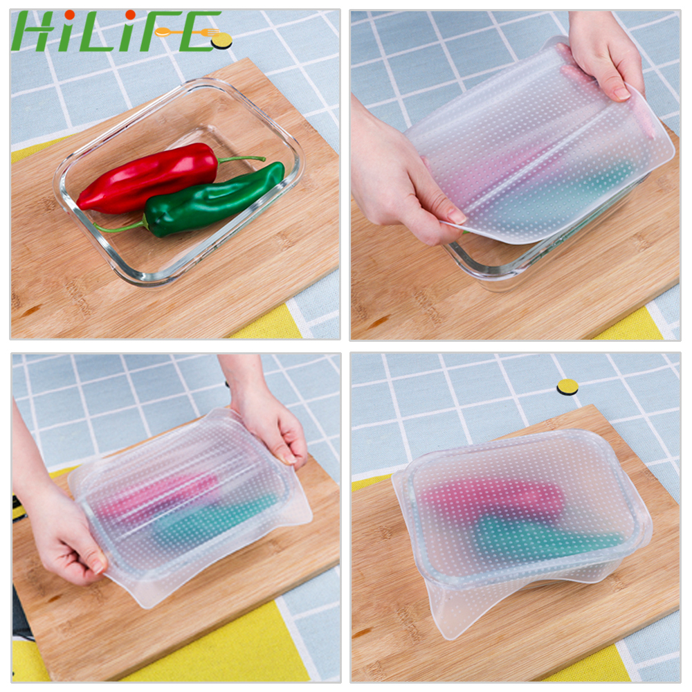 Clear Silicone Fresh Food Storage Wrap Seal Cover Stretch Kitchen Cling Film
