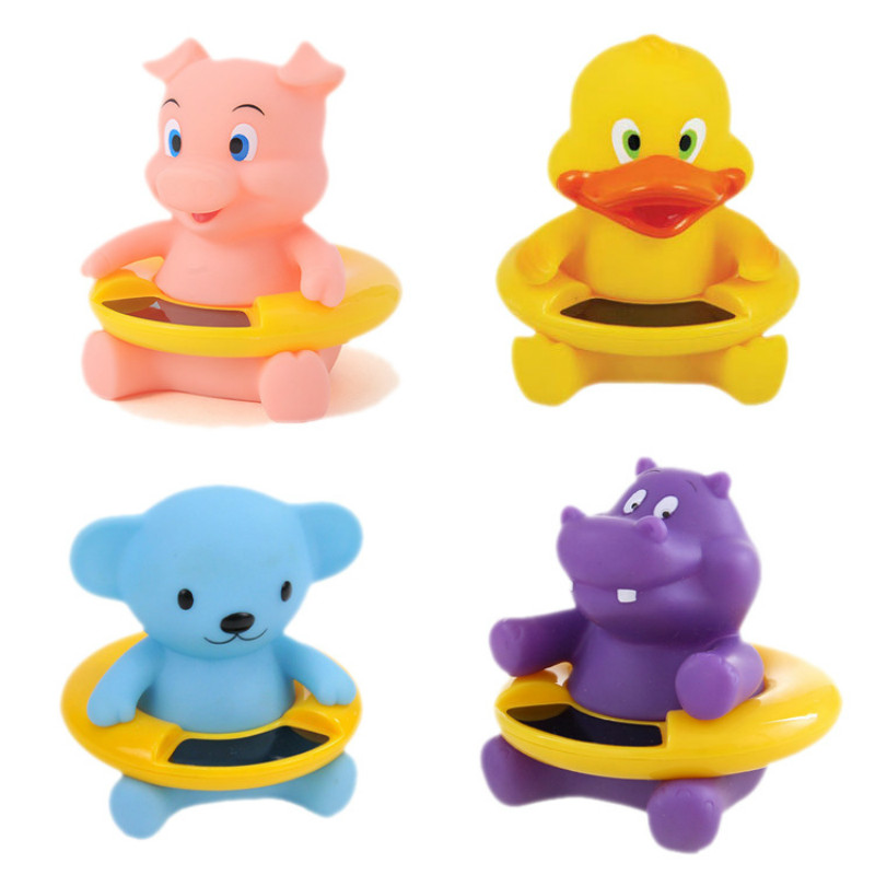 Newborn Baby Bath Toy Cute Cartoon Animal Water Thermometer Duck Bear Pig Crocodile Cow Kids Temperature Tester Bathroom Toys duck animal series many chew toy