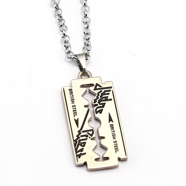 Music band judas priest necklace razor blade shape pendant fashion music band judas priest necklace razor blade shape pendant fashion link chain necklaces friendship gift jewelry thecheapjerseys Choice Image