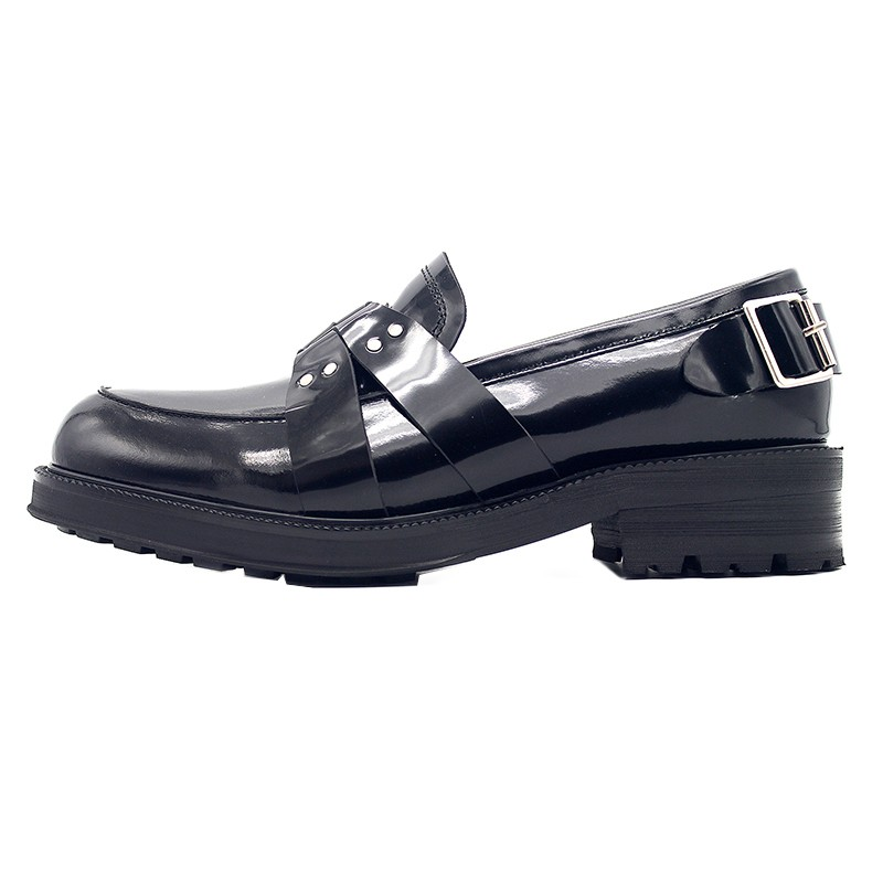 Leder Schuhe Kleid Neue Büroarbeit Black Slip Echtem Metall Müßiggänger Formale Herren Designer Frühling Schnalle 2019 Auf Dicken Plattform 8HFqpZ