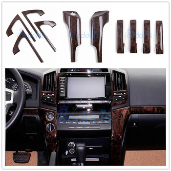 For Toyota Land Cruiser 200 2008-2015 Interior Orginal Wooden Color Decoration Moulding Trim Cover Panel Car Styling Accesso wooden color door holder handle ac outlet dashboard trim lc 200 car styling 2016 2017 for toyota land cruiser 200 accessories
