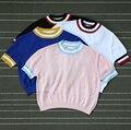 Rainbow Cor Listrado Camisas Da Campainha, o Apelo de Moda Bodycon Malha Topos de Culturas, As Mulheres Malha Tshirts Top Bandagem bts camisetas