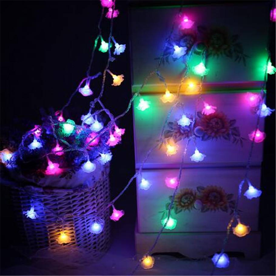 5m 28 led romantic rose string lights new year valentines day xmas wedding party led fairy lights rose flower string lights in led string from lights - Valentine String Lights
