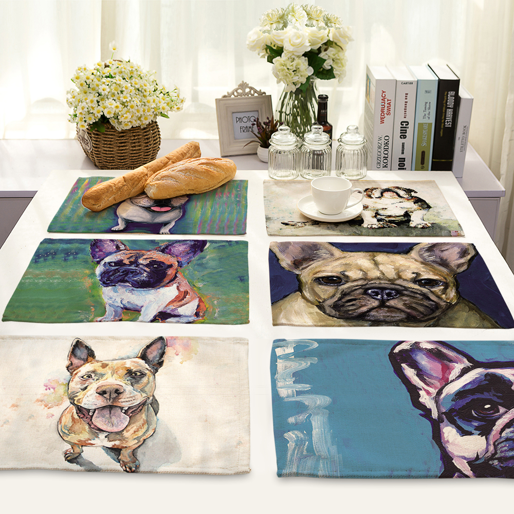 Dog Pattern Table Mat Animal Table Napkin Placemat Kitchen Decoration Dining Accessories 42x32cm MA0055