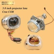 """3.0 """"WST hid lente del proyector con ángel cuadrado ojos s-max cubiertas plaza h1 h4 h7 xenon Bulb Car Styling envío gratis"""