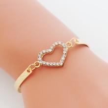 Fashion CZ Crystal Heart Charm Bracelets for Women Bangle Jewelry Gold Color Link Chain Bracelet Wedding Love Costume pulseira