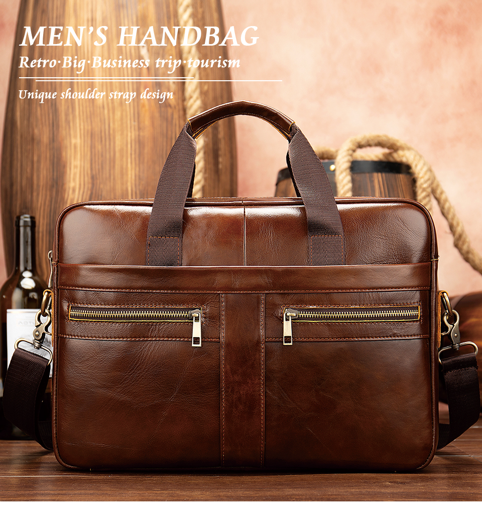 genuine leather briefcase with two handlers