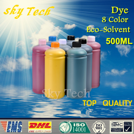 500ML*8 Dye Eco Solvent Ink suit for Epson R1900 printhead Printer , PBK MBK C M Y OR RED GO ,For Wood metal ceramic PVC etc