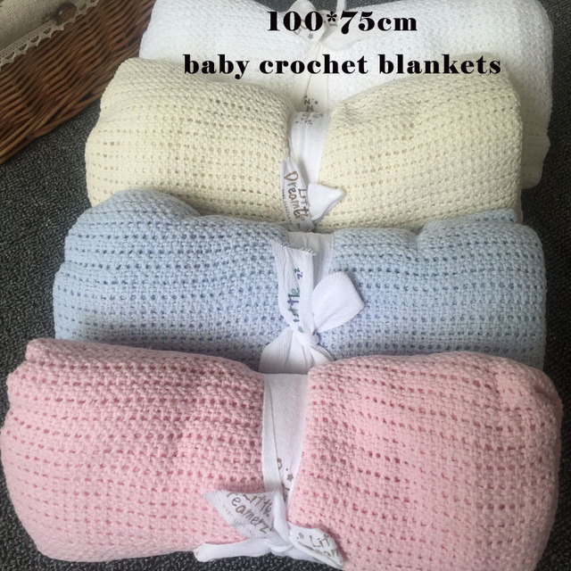 70x100cm New 100 Celluar Cotton Summer Thermal Receiving Baby Throw Nursery Blanket Newborn Knitted Swaddling