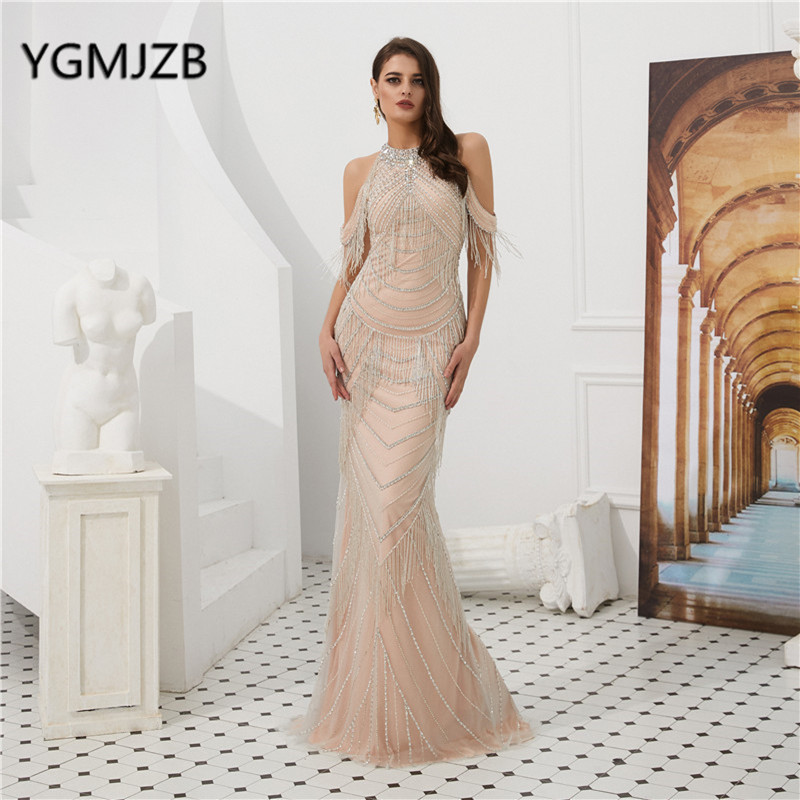 Luxury Long   Evening     Dress   2019 Mermaid Tassel Beading Crystal Halter Sexy Backless Prom   Dress   Formal Party Gown Robe De Soiree