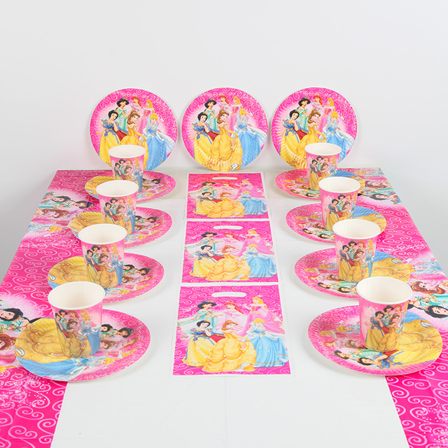 7067e565ad7 61pcs Princess Birthday Party Supplies Plate Cup Tablecloth Gift bag set  Girls Baby Shower Party Decorations