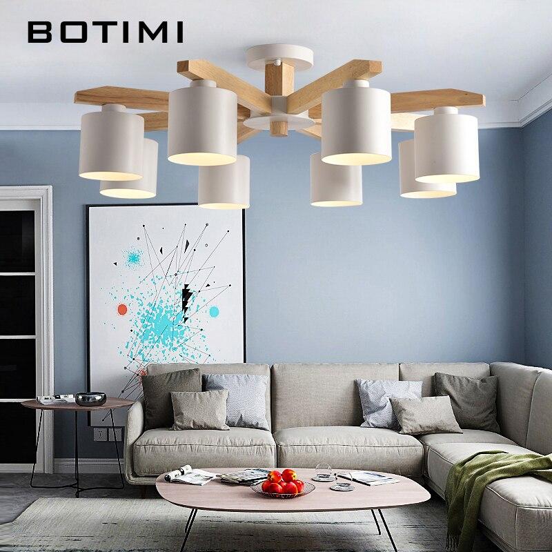 BOTIMI LED Lustre Pour Salon Bois Lustre E27 Lustre Éclairage Avec Abat-Jour Table À Manger Lustres Lampes Cuisine