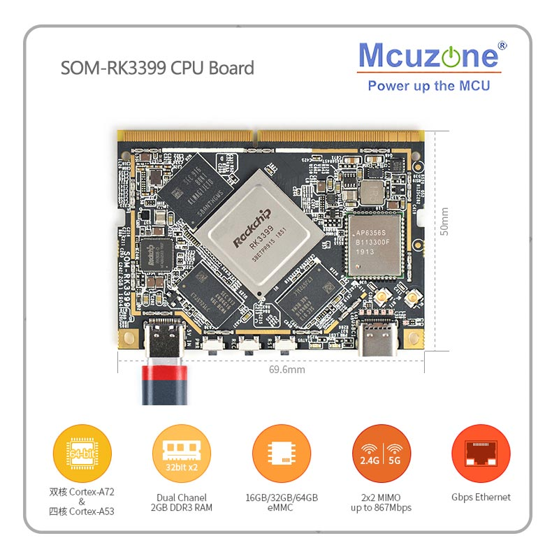 SOM-RK3399 CPU Board AI Developer WiFi BT Support Gbps Ethernet And Dual-screen Display Android/Ubunt/QT/buildroot HDMI IN/OUT