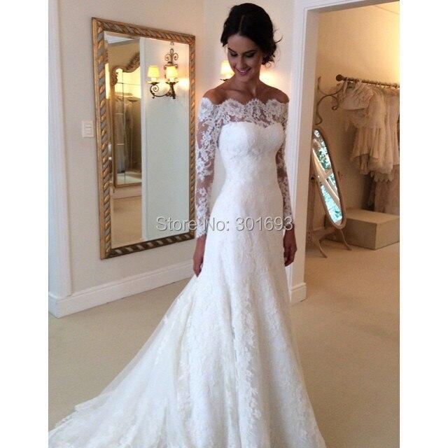 Oumeiya OW614 New Arrival Boat Neckline Off The Shoulder Three Quarter Sleeves Catherdral Royal Train Luxury Wedding Dress 2016USD 49900 Piece