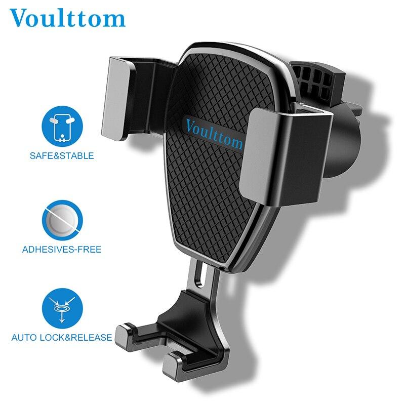 Soporte de Voulttom para teléfono en el soporte de ventilación de aire del coche bloqueo automático y soporte de liberación una mano para iPhone Samsung HTC LG HUAWEI