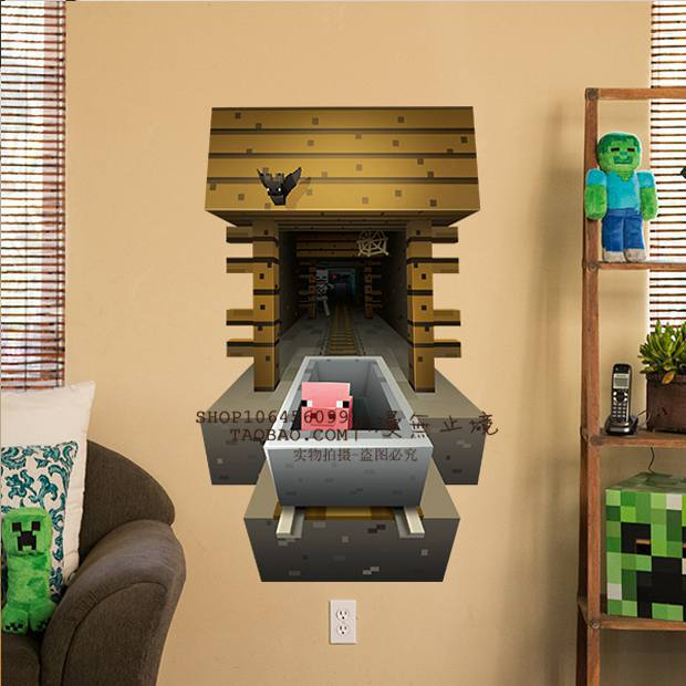 Delicieux 3D Minecraft Style Wall Decal Poster Sticker Room Bedroom Decor Video Game 8