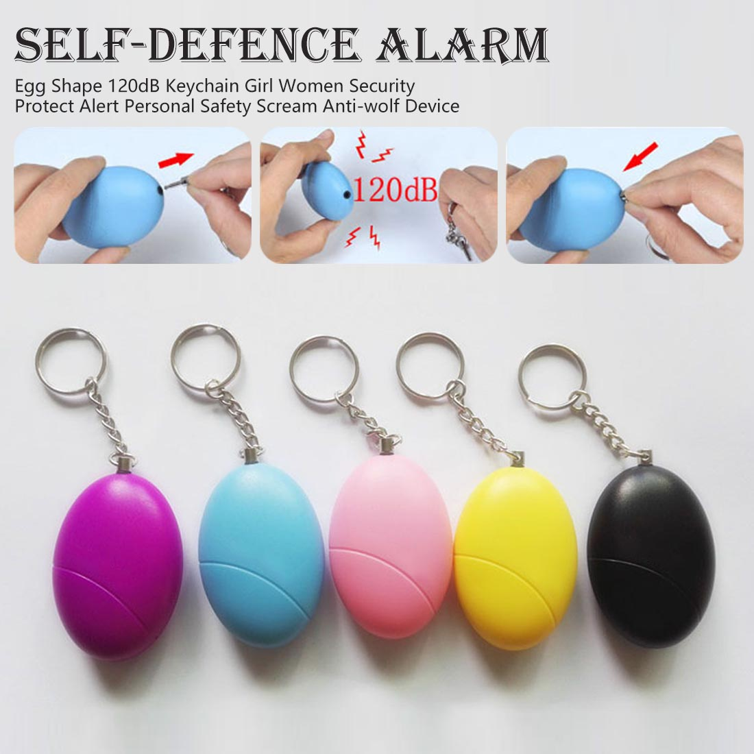 Egg Shape 120dB Keychain Girl Or Women Security Protect Alert Personal Safety Scream Anti-wolf Device