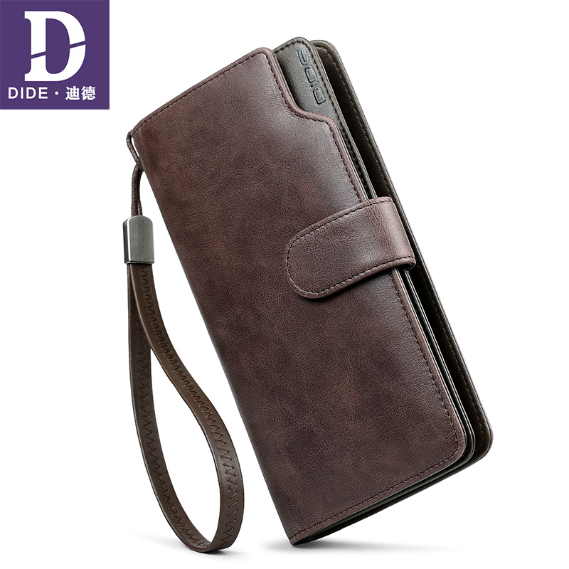 DIDE 2018 Brand Business Long Wallet Men Genuine Leather Wallet Women Clutch Bag Male Coin Purse Card Holder Large Capacity 2017 men clutch bag long section soft genuine leather deer pattern wallet men s handbag purse large capacity business clutch bag