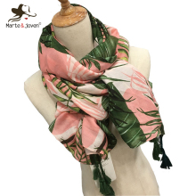 Marte&Joven Leaves Print Polyester Long Shawls Wraps for Women Green&Pink Spring Warm Stoles Scarf Elegant Ladies Muslim Hijab