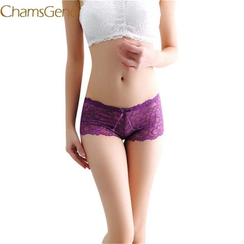 Chamsgend Intimates Sexy Underwear Women Hot Transparent Flower Lace Shorts Panties Briefs Lingerie Underwears 80111
