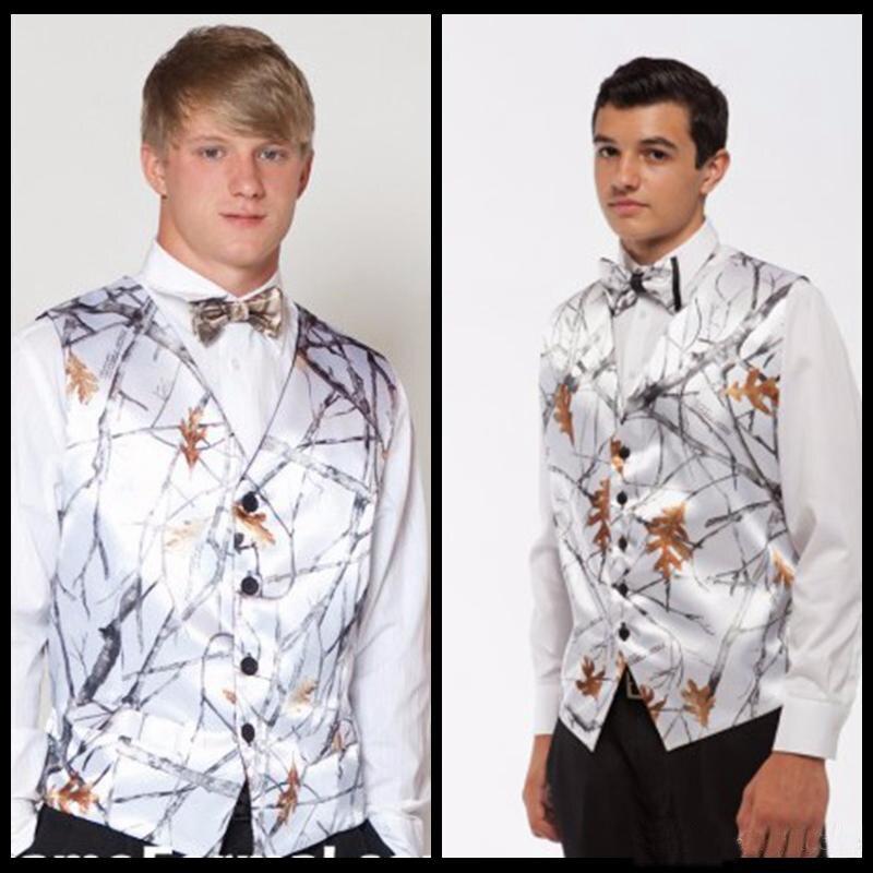 Hospitable White Camo Groom Vests Custom Made Camouflage Vest Groom Wear Wedding Party Camo Prom Vests Groom Vests Wedding Waistcoat