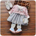 2017 new spring children girls ribbon cardigan + long sleeved dress two piece suit