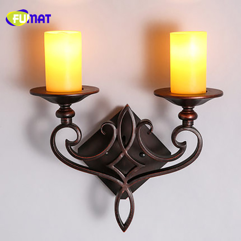 FUMAT Wall Lamps Industrial Vintage Candle Sconces Mounted LED Sconce Antique Iron Candlestick In Indoor From Lights