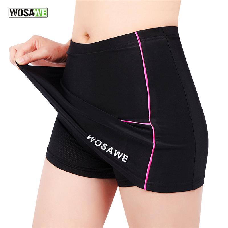 WOSAWE Women Cycling Shorts Skirts 4D Padded Gel Black Underpant Bicycle Bike Underwear Size S-XL
