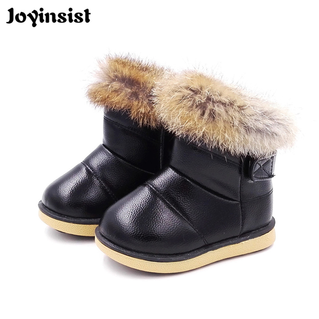 8c2d4460a37 Winter Plush Baby Girls Snow Boots Warm Shoes PU Leather Flat With Baby  Toddler Shoes Outdoor Snow Boots Girls Kids Shoe