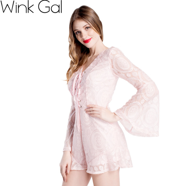 fdbcbdd169b9 Wink Gal Women Jumpsuits And Rompers Long Sleeve Romper Pink Lace Cute V-neck  Overalls For Women 1706