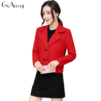 Wool Coat Women 2017 Autumn New Korean Slim Was Thin Suit Collar Wool Jacket Short Section