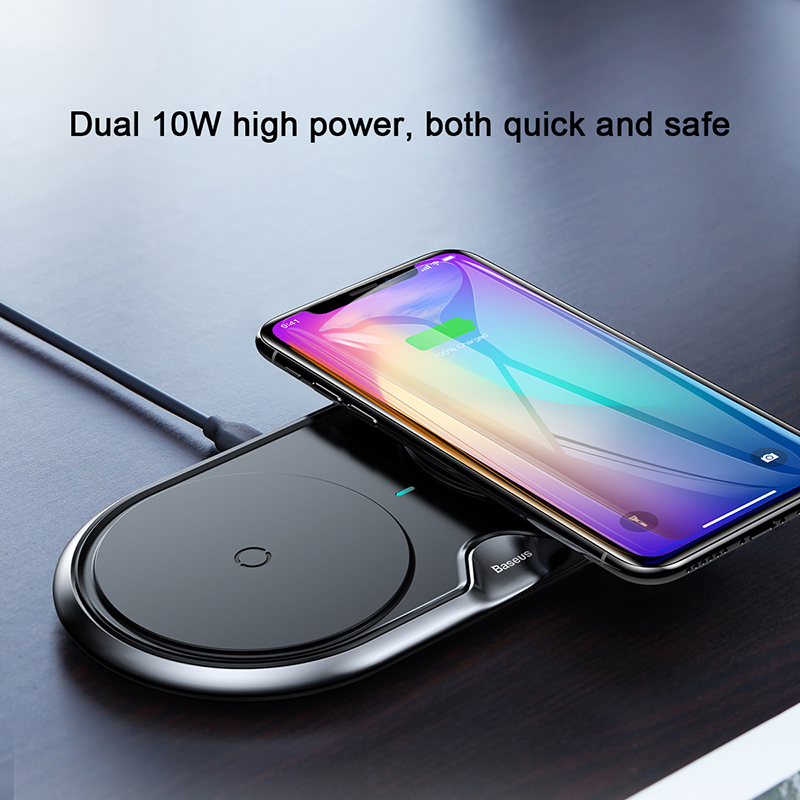 Dual 10w qi wireless charger for iPhone xs max xr x 8 plus fast wireless charging
