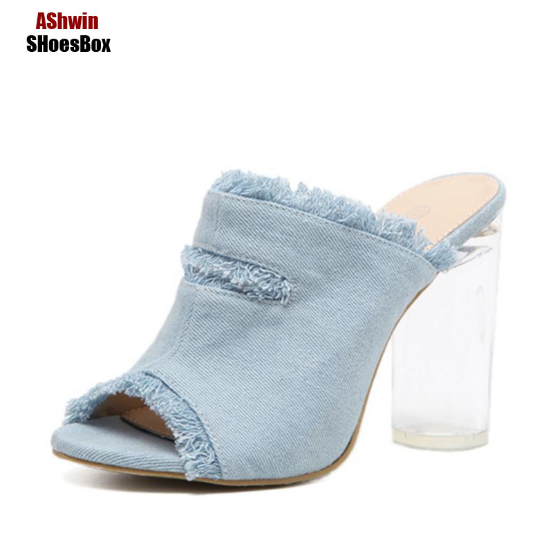 fancy women pumps slides demin jean high heels peep toe fashion summer woman shoes slippers sandals fashion thick heels shoes