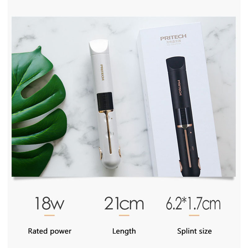 USB Charging Professional 2 in 1 Hair Curler Straightener Wireless Portable Mini Digital Display Electric Splint 2600mAh in Curling Irons from Home Appliances