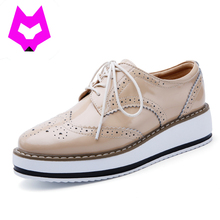 Wolf Who Brand Spring Women Platform Shoes Woman Brogue Patent Leather Flats Lace Up Footwear Female Flat Oxford Shoes For Women